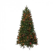National Tree Company 6.5 ft. Pre-Lit FEEL-REAL Bavarian Pine Hinged Artificial Christmas Tree with 400 Multi-Color Lights-PEBV7-308E-65 204334181