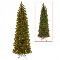National Tree Company 7.5 ft. Downswept Douglas Pencil Slim Fir Artificial Christmas Tree with Dual Color LED Lights-PEDD4-392D-75 207183252