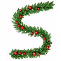 National Tree Company 9 ft. Battery Operated Mixed Fir Artificial Garland with 50 Clear LED Lights-DC3-186-9BB-1 206084830