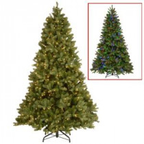 National Tree Company 9 ft. Downswept Douglas Fir Artificial Christmas Tree with Dual Color LED Lights-PEDD1-312LD-90X 205330688