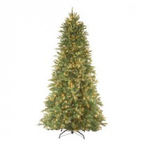 National Tree Company 9 ft. Feel Real Tiffany Fir Slim Hinged Artificial Christmas Tree with 800 Clear Lights-PETF3-304-90 202214943