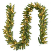 National Tree Company 9 ft. FEEL-REEL Jersey Fraser Fir Artificial Garland with 100 Clear Lights-PEJF4-310-9A-1 205945923