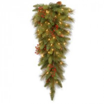 National Tree Company Decorative Collection 36 in. Long Needle Pine Cone Teardrop with Clear Lights-DC3-178L-36T 300441260