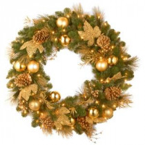 National Tree Company Decorative Collection Elegance 36 in. Artificial Wreath with Clear Lights-DC13-109L-36W 300182770