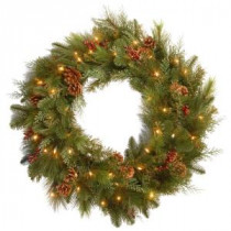 National Tree Company Decorative Collection Noble Mixed 30 in. Artificial Wreath with Battery Operated Warm White LED Lights-DC13-103-30WB-1 300182792