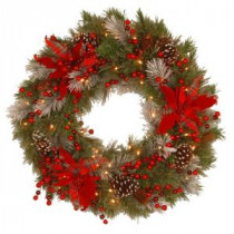 National Tree Company Decorative Collection Tartan Plaid 24 in. Artificial Wreath with Battery Operated Warm White LED Lights-DC13-147-24WB-1 300182759