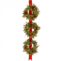 National Tree Company Decorative Collection Triple 77 in. Artificial Wreath Door Hang with Clear Lights-DC13-114L-18W 300154666
