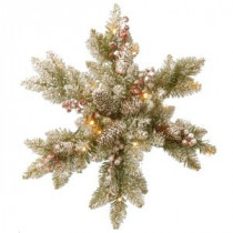 National Tree Company Dunhill Fir Snowy 18 in. Artificial Snowflake with Battery Operated Warm White LED Lights-DUF-300L-18SB-1 300154675