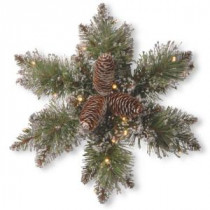 National Tree Company Glittery Bristle Pine 14 in. Artificial Snowflake with Battery Operated Warm White LED Lights-GB1-300L-14SB-1 300154627