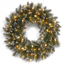 National Tree Company Glittery Bristle Pine 30 in. Artificial Wreath with Clear Lights-GB1-319-30W 300154638