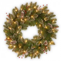 National Tree Company Glittery Mountain Spruce 24 in. Artificial Wreath with Battery Operated Warm White LED Lights-GLM1-300-24W-B1 300182871