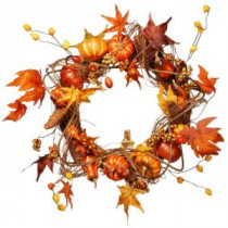 National Tree Company Harvest Accessories 21 in. Artificial Wreath with Pumpkins, Maples and Leaves-RAHV-W060188A 207123485