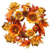 National Tree Company Harvest Accessories 22 in. Sunflower Artificial Wreath with Pumpkin-RAHV-W060630A 207123487