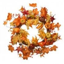 National Tree Company Harvest Accessories 24 in. Artificial Wreath with Maples and Pumpkins-RAHV-W060202A 207123486