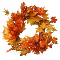 National Tree Company Harvest Accessories 24 in. Artificial Wreath with Maples-RAHV-SW060135A 207123482