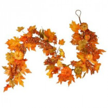 National Tree Company Harvest Accessories 70 in. Garland with Maples and Pumpkins-RAHV-G060202A 207123477