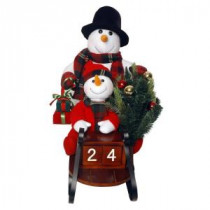 National Tree Company Plush Collection 28 in. Sleigh with Snowman and 10 Battery Operated LED Lights-PL27-CH1442 205579932