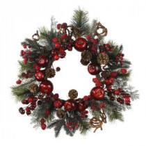Nearly Natural 22 in. Apple Berry Wreath-4677 100686432
