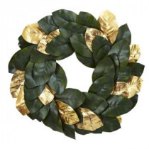 Nearly Natural 22 in. Golden Leaf Magnolia Artificial Wreath-4873 206585516