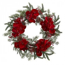 Nearly Natural 22 in. Orchid, Berry and Pine Holiday Artificial Wreath-4884 206585521