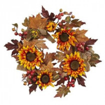 Nearly Natural 24 in. Artificial Sunflower and Berry Wreath-4867 206585510
