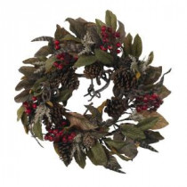 Nearly Natural 24 in. Artificial Wreath with Pine Cones, Berries, and Feathers-4901 202510738