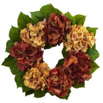 Nearly Natural 24 in. Autumn Hydrangea Artificial Wreath-4898 206733642