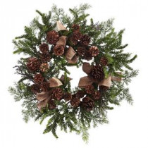 Nearly Natural 24 in. Pine and Pine Cone Artificial Wreath with Burlap Bows-4888 206585525