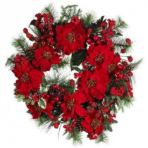 Nearly Natural 24 in. Poinsettia Wreath-4660 100653809