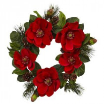 Nearly Natural 24 in. Red Magnolia and Pine Artificial Wreath-4869 206585512