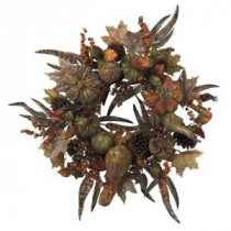 Nearly Natural 28 in. Artificial Wreath with Autumn Pumpkins, Berries, and Feathers-4907 202510749