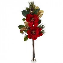 Nearly Natural 34 in. Holiday Magnolia Arrangement-1417 206725740