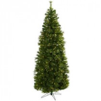 Nearly Natural 7.5 ft. Cashmere Slim Artifiicial Christmas Tree with Clear Lights-5378 204688170