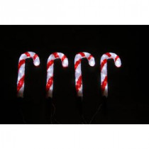 Novolink 14 in. 80-Light White LED Decorative Candy Cane (Set of 4)-AS-CC4-35 300258002