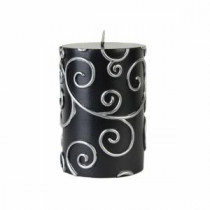 Zest Candle 3 in. x 4 in. Black Scroll Pillar Candle Bulk (12-Case)-CPS-001_12 203363188