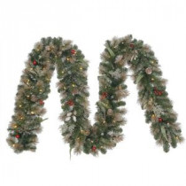 12 ft. Battery Operated Roosevelt Artificial Garland with 80 Clear LED Lights-GTC0M3V90L00 205982853