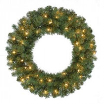 24 in. Pre-Lit Fairwood Artificial Christmas Wreath x 160 Tips with 50 UL Indoor/Outdoor Clear Lights-GD20P3A01C00 206795393