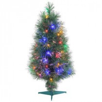 3 ft. Pre-Lit Multicolored Fiber Optic Artificial Christmas Tree with 98 tips-6516--36 300539375