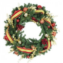 30 in. Battery Operated Plaza Artificial Wreath with 50 Clear LED Lights-BOWOTHD173D 205983403