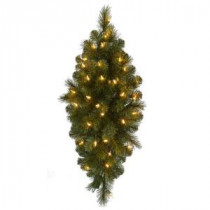 32 in. Pre-Lit LED Wesley Pine Swag x 133 Tips with 35 Plug-In Indoor/Outdoor Warm White LED Lights-GK28M2L46L01 206795384