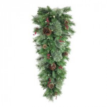 36 in. Battery Operated Syracuse Cashmere Berry Artificial Teardrop with 35 Clear LED Lights-BOWOTHD171E 205983415