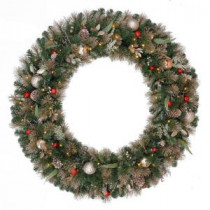 48 in. Battery Operated Roosevelt Artificial Wreath with120 Clear LED Lights-GD40M3V90L00 205983379