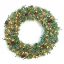48 in. Syracuse Cashmere Berry Artificial Wreath with 200 Clear Lights-BOWOTHD171D 205983475