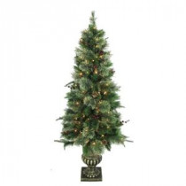 5 ft. Syracuse Cashmere Berry Potted Artificial Christmas Tree with 150 Clear Lights (Set of 2)-BOWOTHD171G 205983463