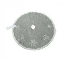 52 in. Jute Fabric and Velvet Borders with Beaded Christmas Tree Skirt-SIM-TS122 206963110