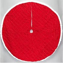 56 in. Red Pintucked Velvet Christmas Tree Skirt-2564899-1HC 205983472