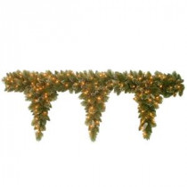 6 ft. Glittery Bristle Teardrop Garland with Clear Lights-GB1-300-6T-1 300330539