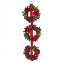 60 in. Battery Operated Triple Artificial Poinsettia Wreath with 48 Clear LED Lights-2258580HD 205984094