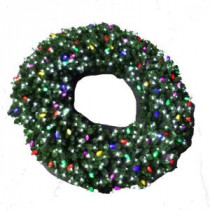 60 in. LED Pre-Lit Artificial Christmas Wreath with Micro-Style Pure White and C9 Multi-Color Lights-4723262-30HO 206771076