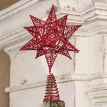 7 in. x 9 in. Glitter Red Star Tree Topper-13652 206639409